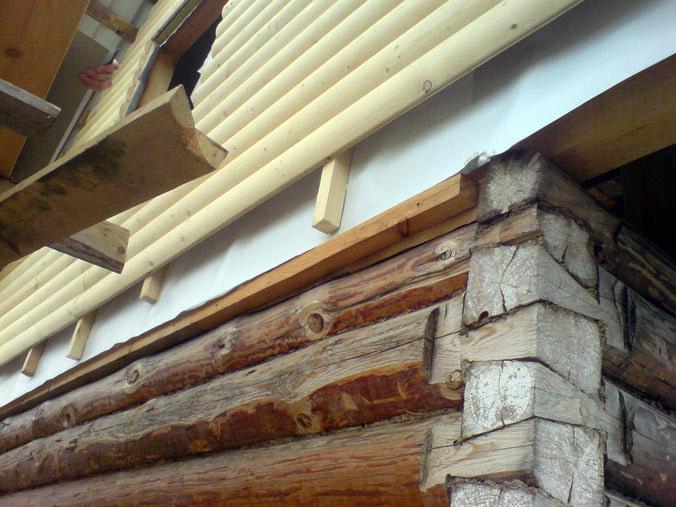 фото Крепление блок-хауса на деревянный дом