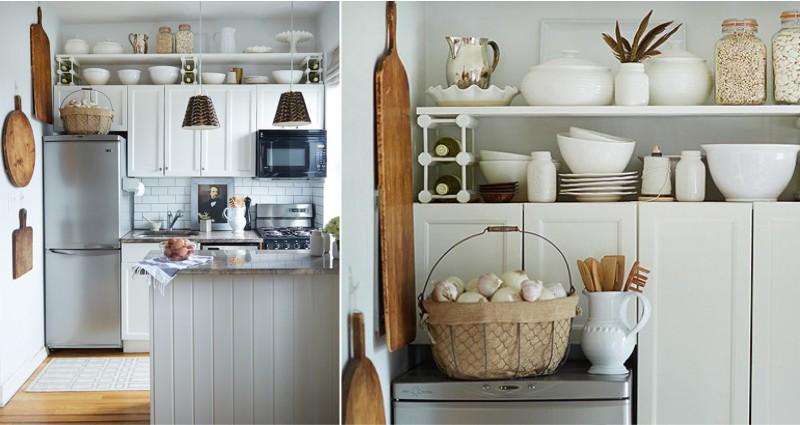 Хранение в маленькой кухне-студии