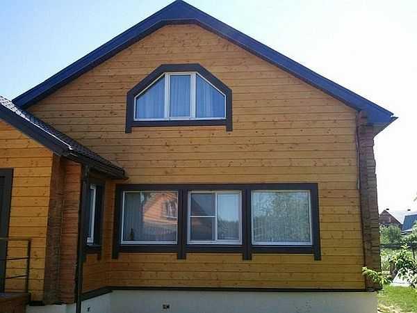 Это дом, обшитый имитацией бруса. Под обшивкой может быть кирпич, сруб, каркасник или любой из строительных блоков