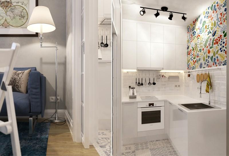 Дизайн кухни в квартире-студии с перегородкой и раздвижными дверями