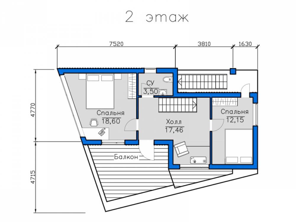 чертеж вторго этажа дома с плоской крышей