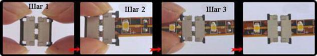 Этапы соединения отрезков ленты коннектором (часть 1)