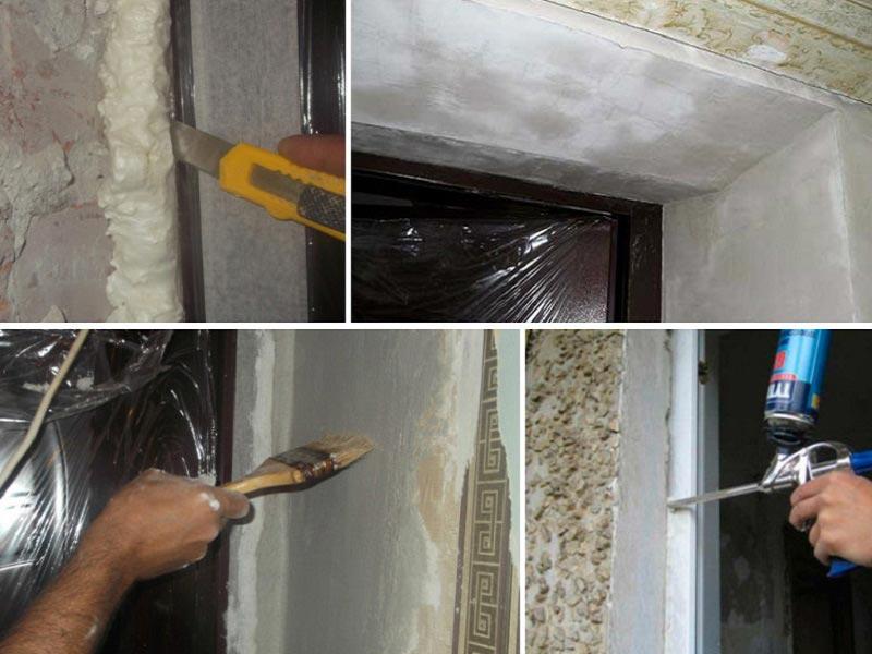 Этапы подготовки откосов входной двери к отделке