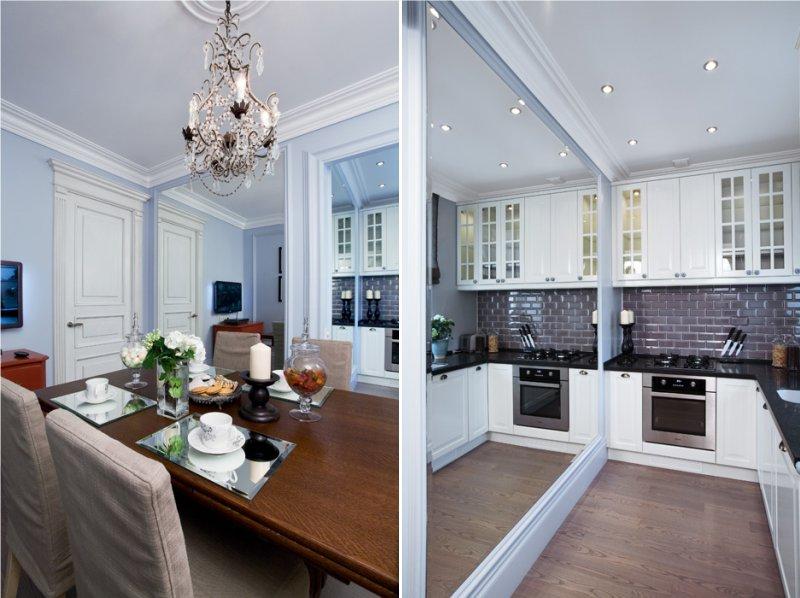 Интерьер кухни в двухкомнатной квартире-студии