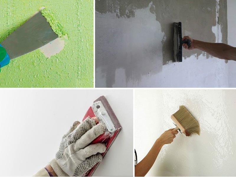 Этапы подготовки стен к покраске: снятие старого декоративного слоя, шпаклевка с последующей шлифовкой поверхности, покрытие грунтовкой