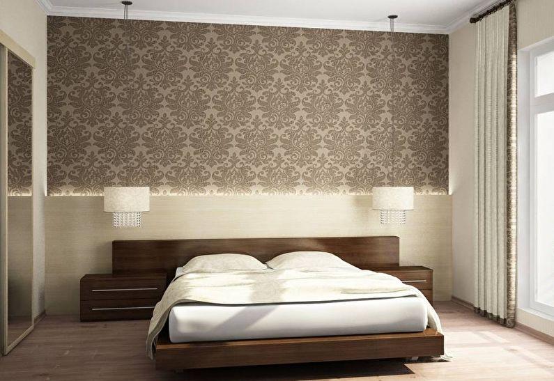 Горизонтальное комбинирование обоев в спальне