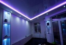 Подсветка натяжного потолка светодиодной лентой изнутри (фото)