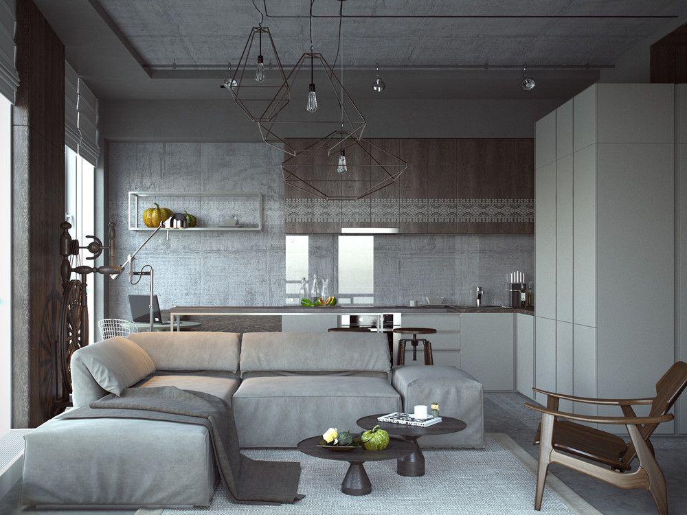 Фото 28 Бетонный потолок в интерьере: 60+ лаконичных идей для дизайна в стиле лофт, минимализм и хай-тек