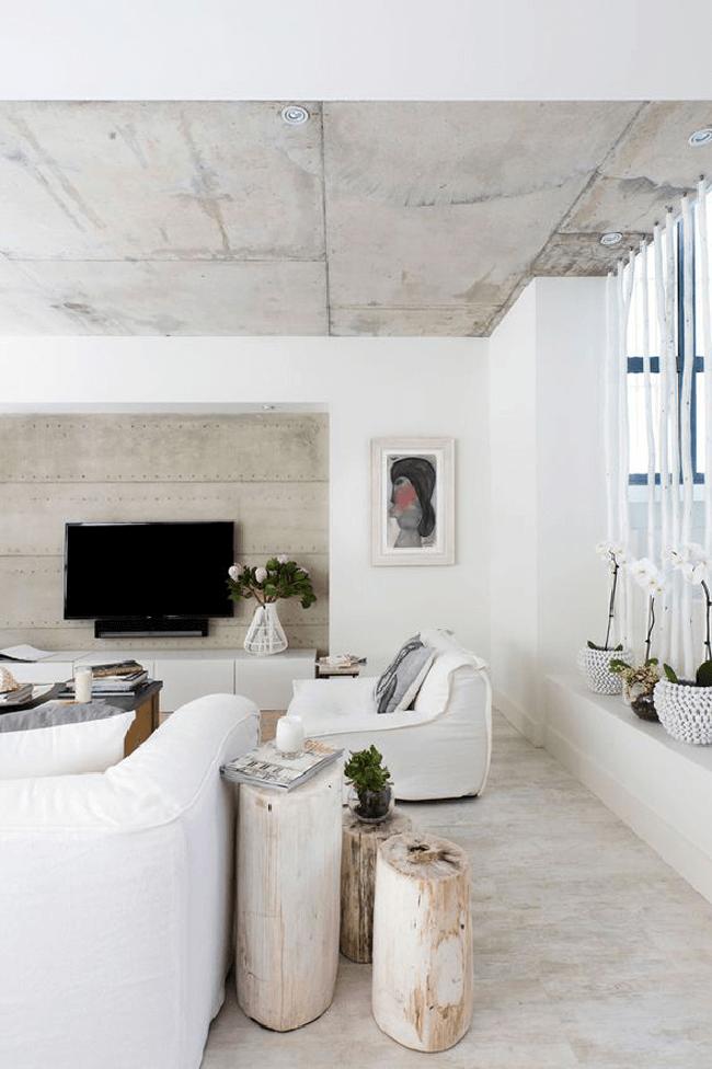 Белый цвет добавит уюта бетонной комнате