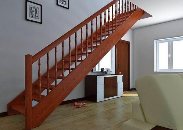 Красивая одномаршевая лестница на мансарду своими руками