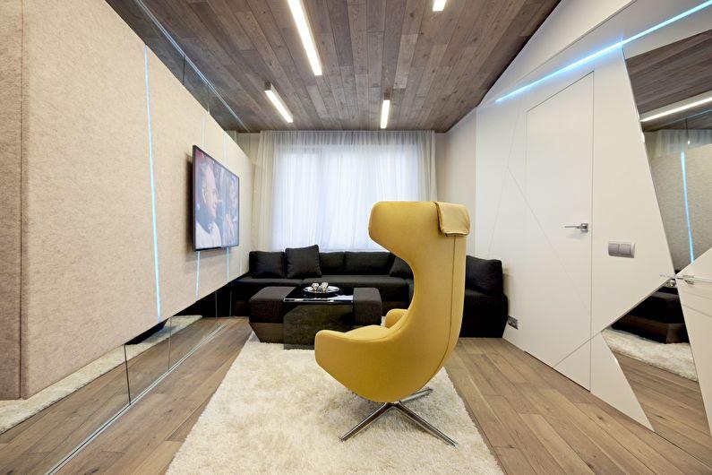 Узкая (прямоугольная) маленькая гостиная - дизайн интерьера