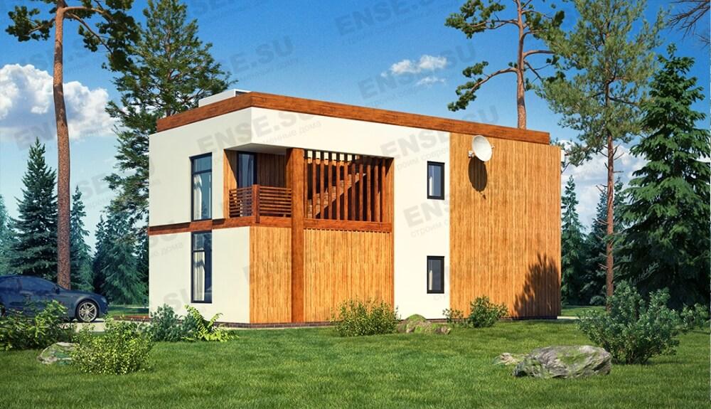 двухэтажный плоский дом
