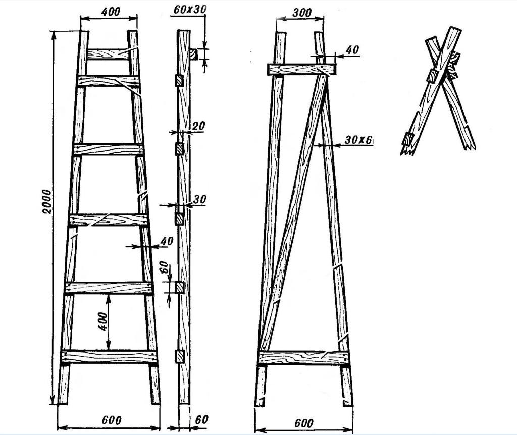 Пример чертежа стремянки