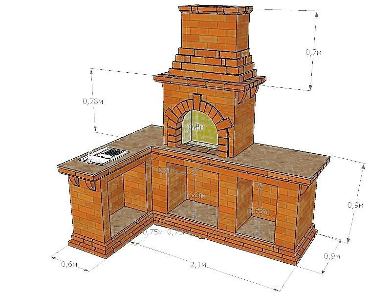 Угловая печь-камин со множеством отсеков