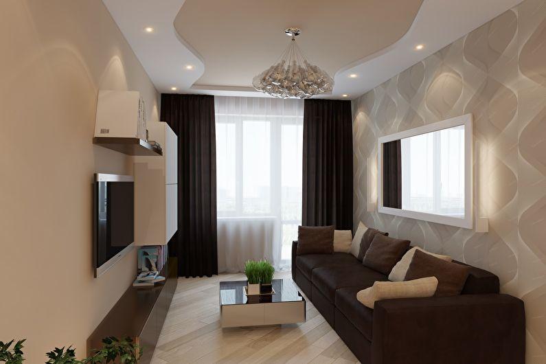 Маленькая гостиная в коричневых тонах - дизайн интерьера