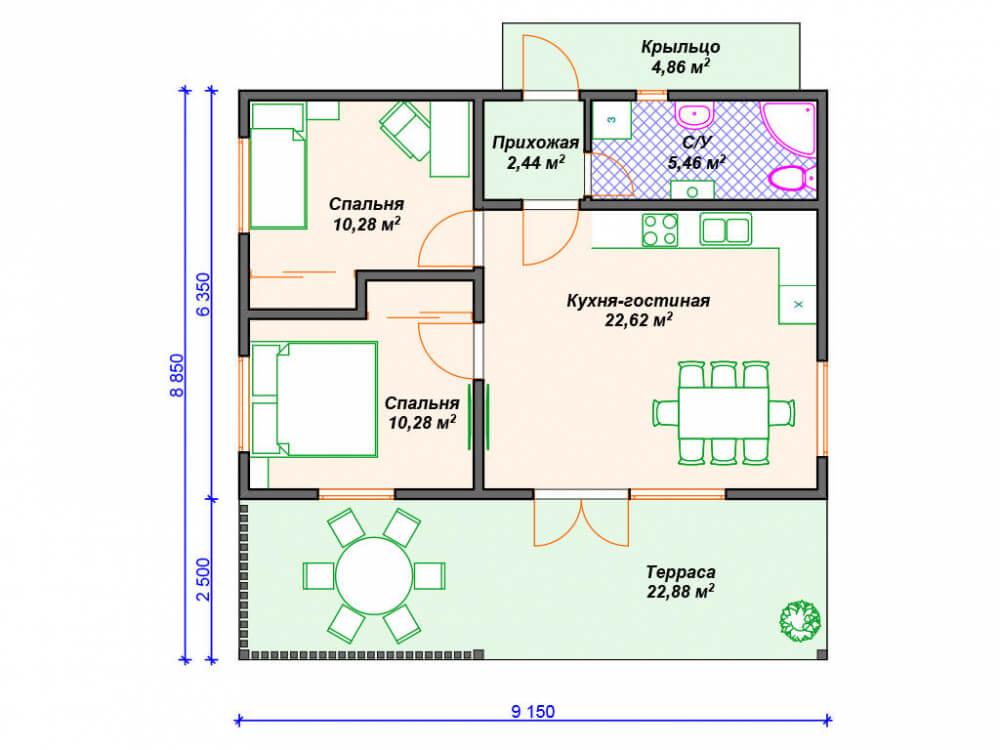 финский каркасный дом - чертеж