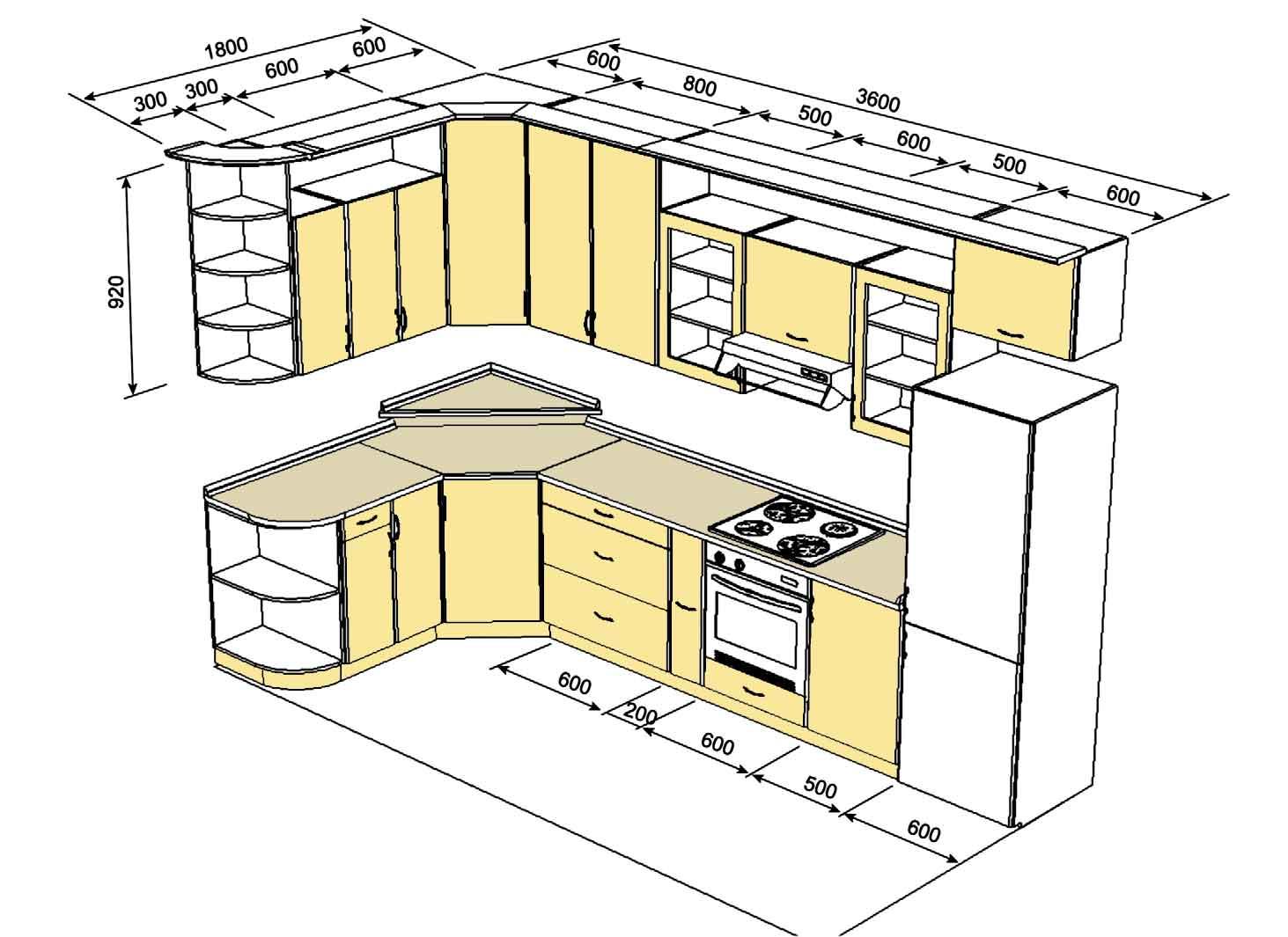 Кухонный гарнитур — важнейший элемент оснащения комнаты, поэтому его структуру проработайте на чертеже особо тщательно.