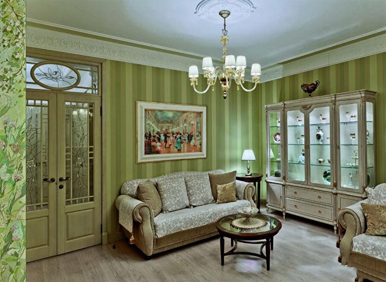 Маленькая гостиная в зеленых тонах - дизайн интерьера