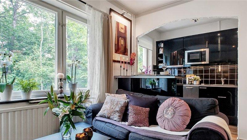 Арка на кухне в интерьере квартиры-студии