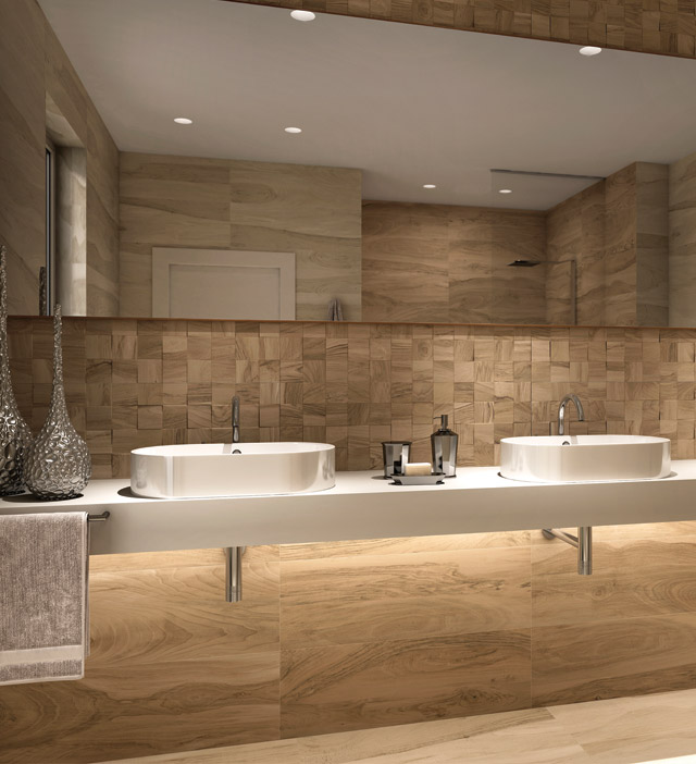 Виды плитки под дерево для ванной