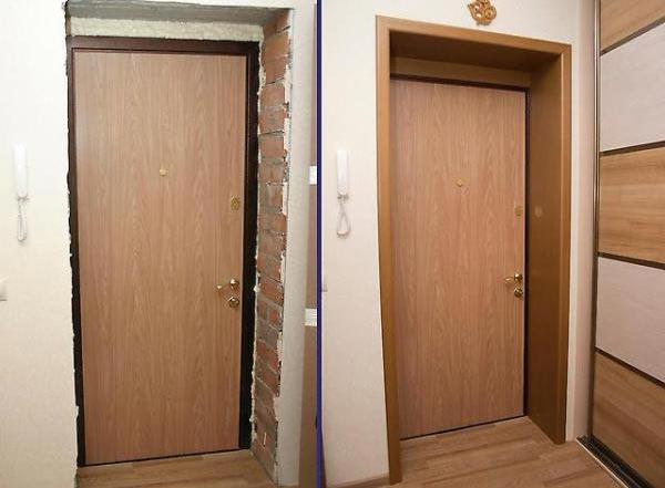 Установка МДФ панелей на откосы: дверной проем до и после отделки