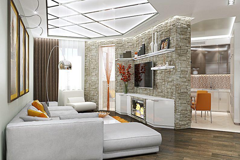 Маленькая гостиная нестандартной формы - дизайн интерьера