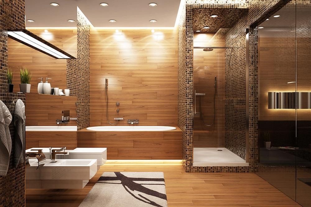 Плитка под дерево отлично вписывается в ванную комнату, которая выполнена в стиле модерн или хай-тек