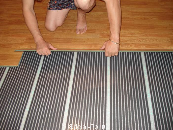 Укладка ламината на пленочный теплый пол