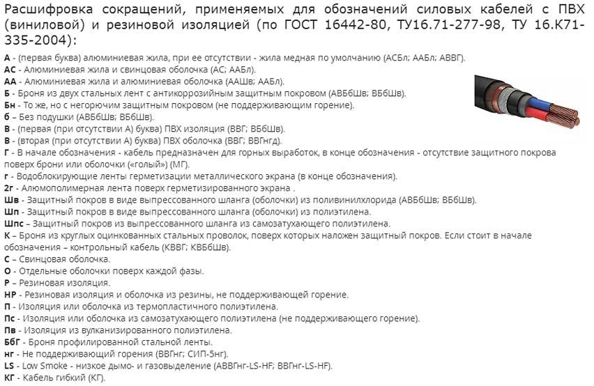 расшифровка обозначений букв в названии кабелей с ПВХ изоляцией