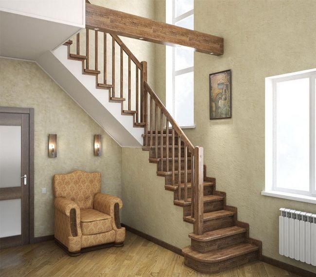 Дизайн прихожей с лестницей, отделанной деревом