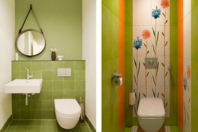 Зеленый маленький туалет - Дизайн интерьера
