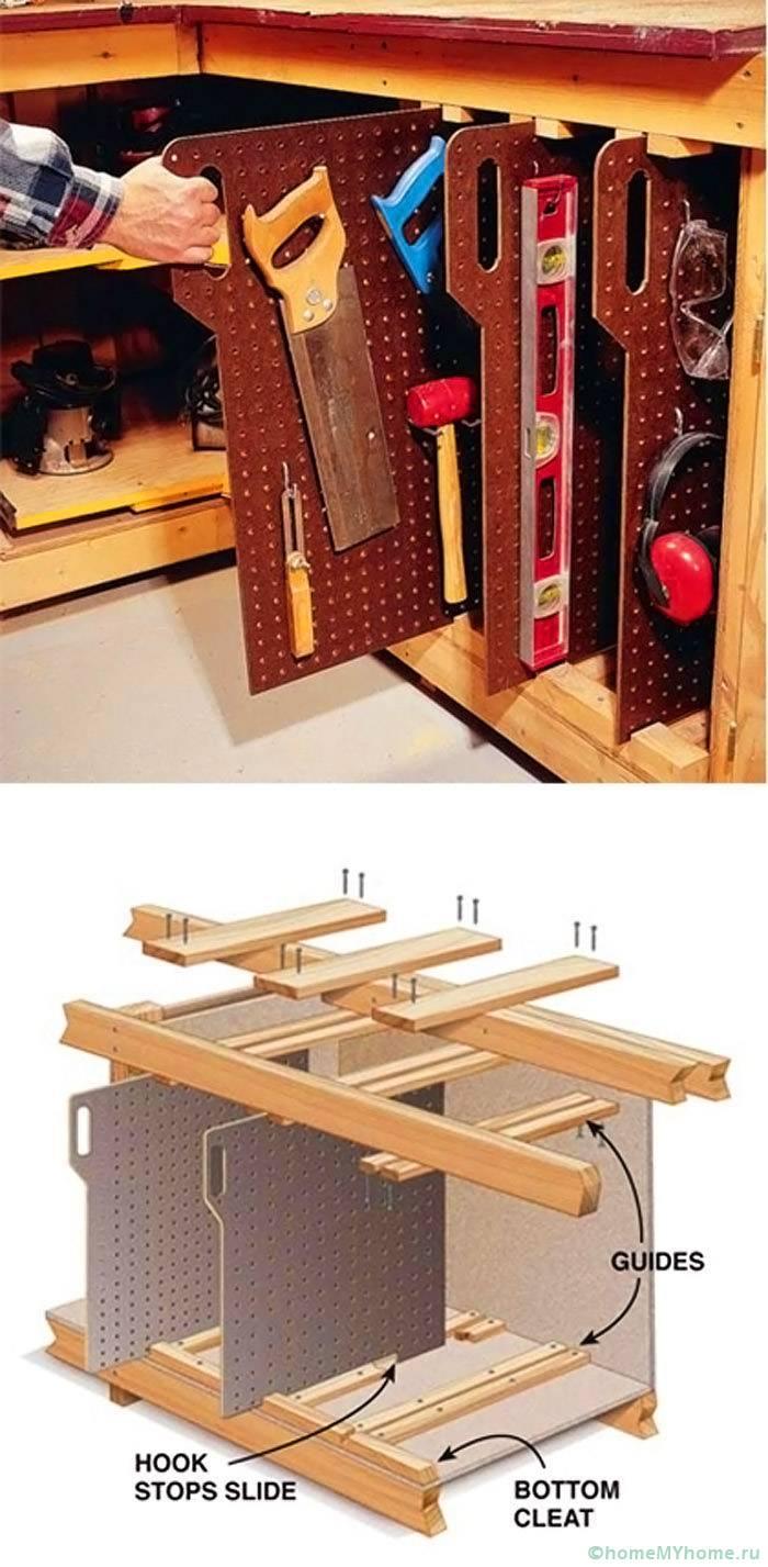 Удобные выдвижные стеллажи для хранения инструмента