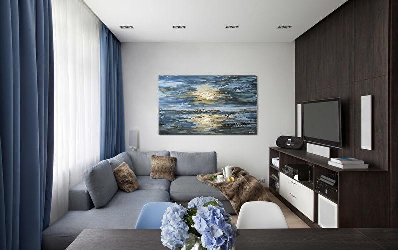 Дизайн маленькой гостиной в стиле минимализм