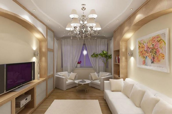 Дизайн длинной и узкой гостиной
