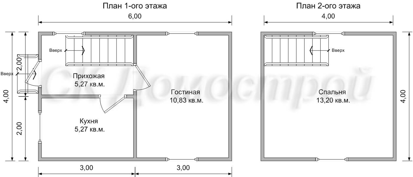 дачный дом 6х4 - чертеж