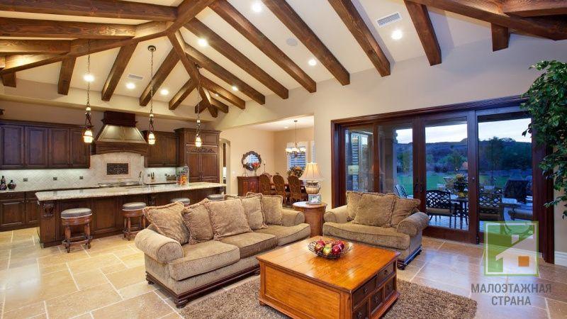 Потолок в деревянном доме: способы отделки