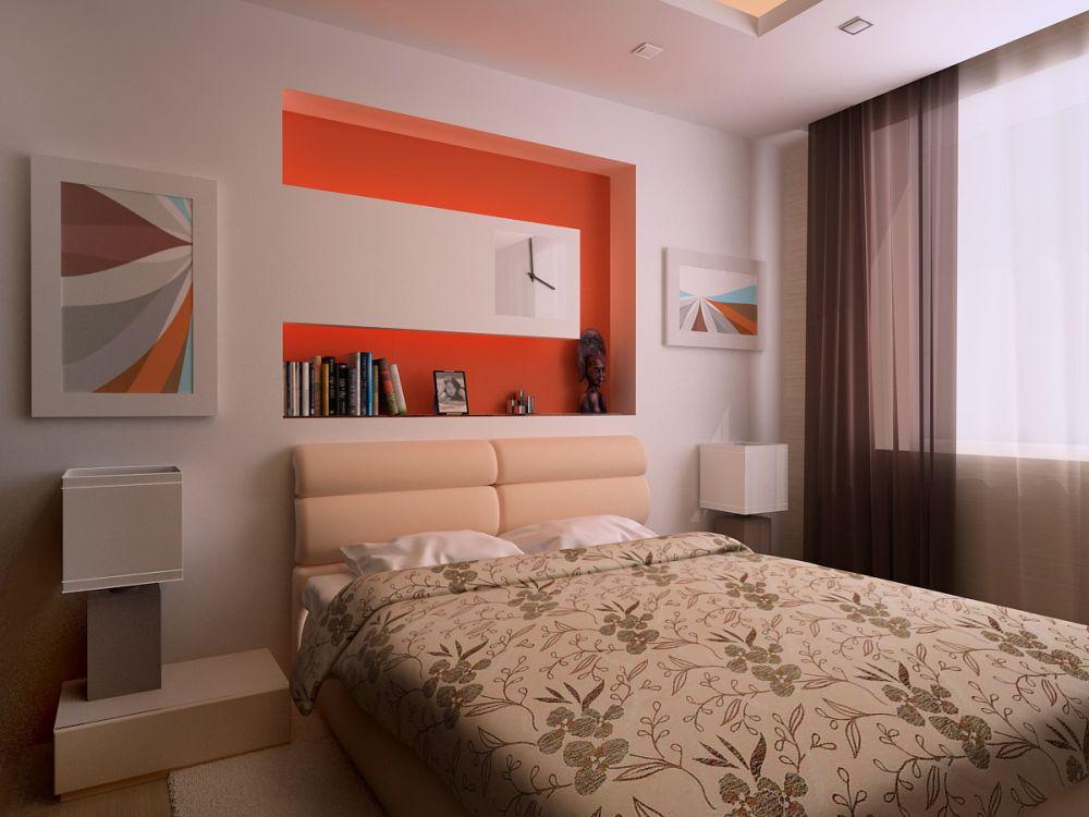 Дизайн ниши из гипсокартона в стене для спальни