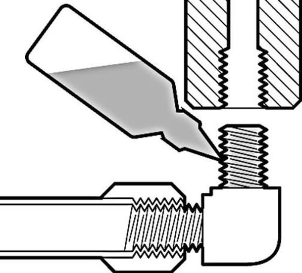 Клей для резьбовых соединений очень прост в применении