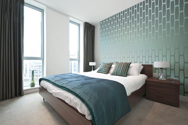 Сине-зелёные обои в современном дизайне спальни