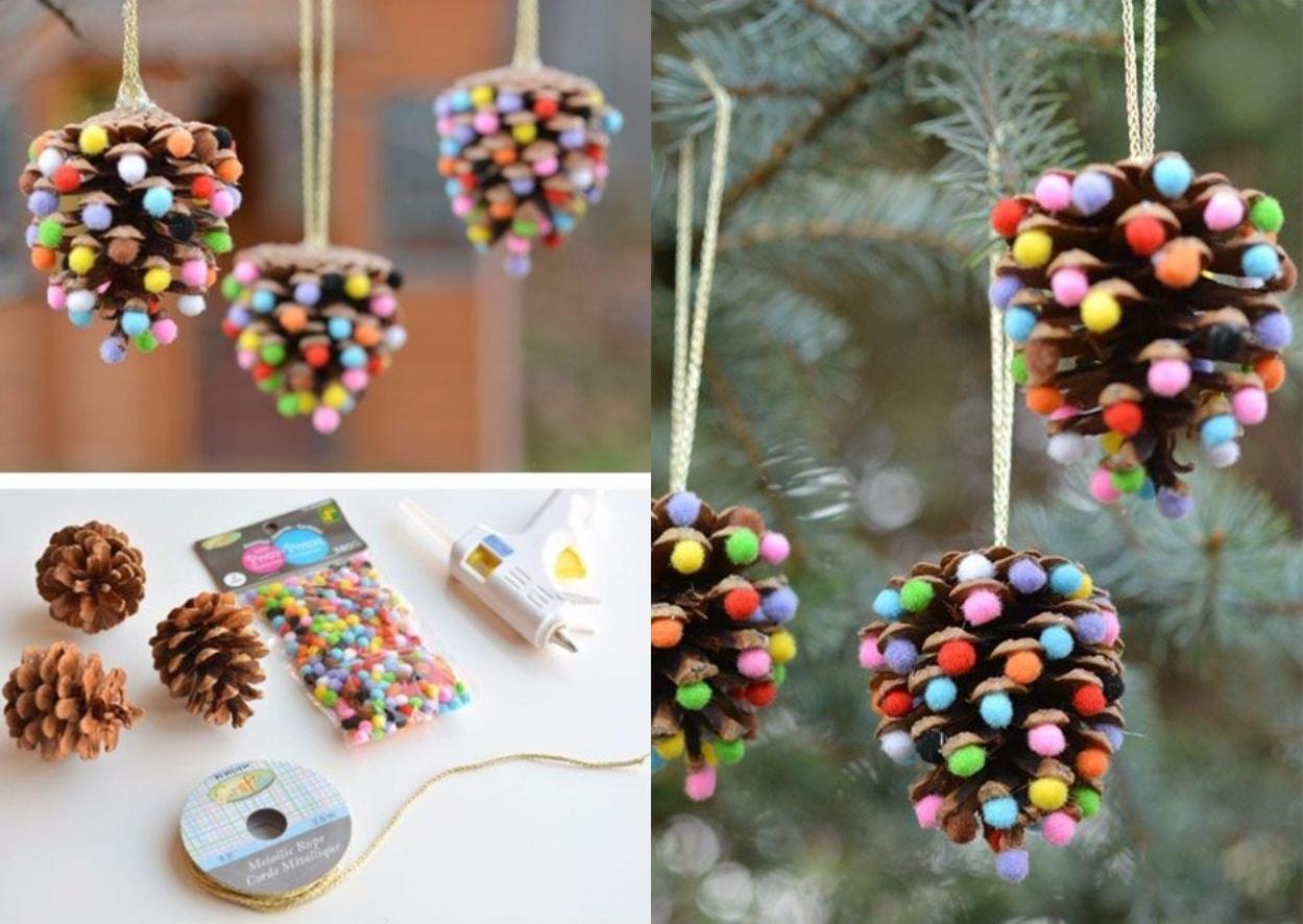Украсив обычные шишки мягкими декоративными шариками вы получите оригинальное украшение для вашего сада, которое будет радовать вас круглый год