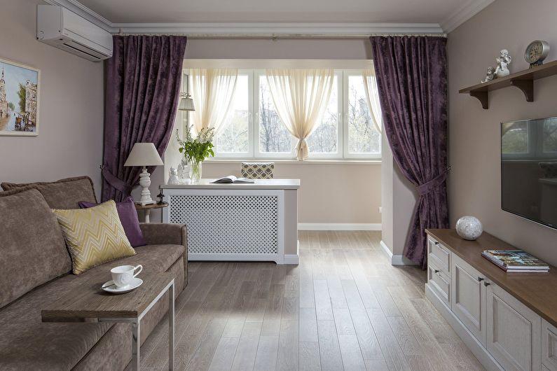 Совмещение маленькой гостиной с балконом или лоджией - дизайн интерьера