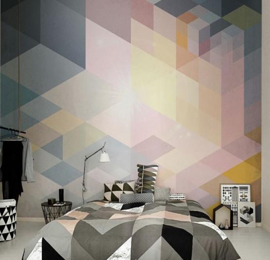 Разноцветные кубики на обоях в спальню