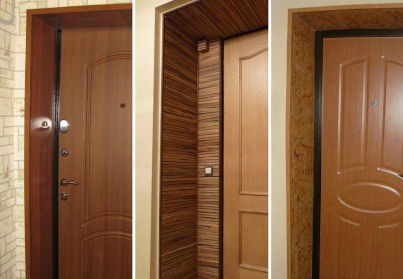 Варианты отделки откосов входной двери