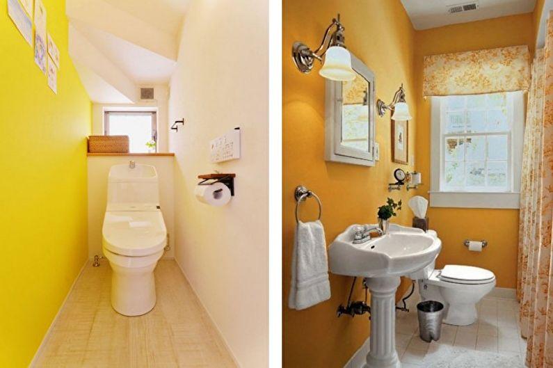 Желтый маленький туалет - Дизайн интерьера