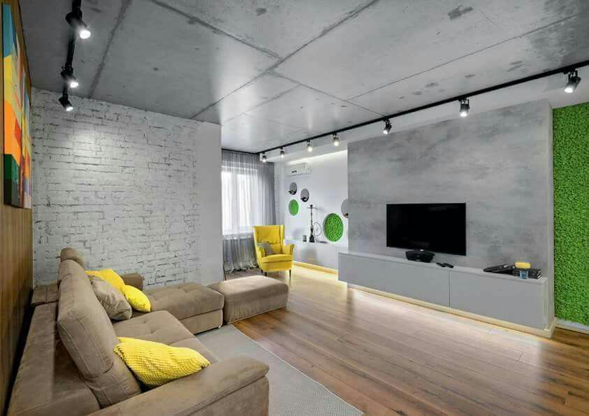 Фото 1 Бетонный потолок в интерьере: 60+ лаконичных идей для дизайна в стиле лофт, минимализм и хай-тек