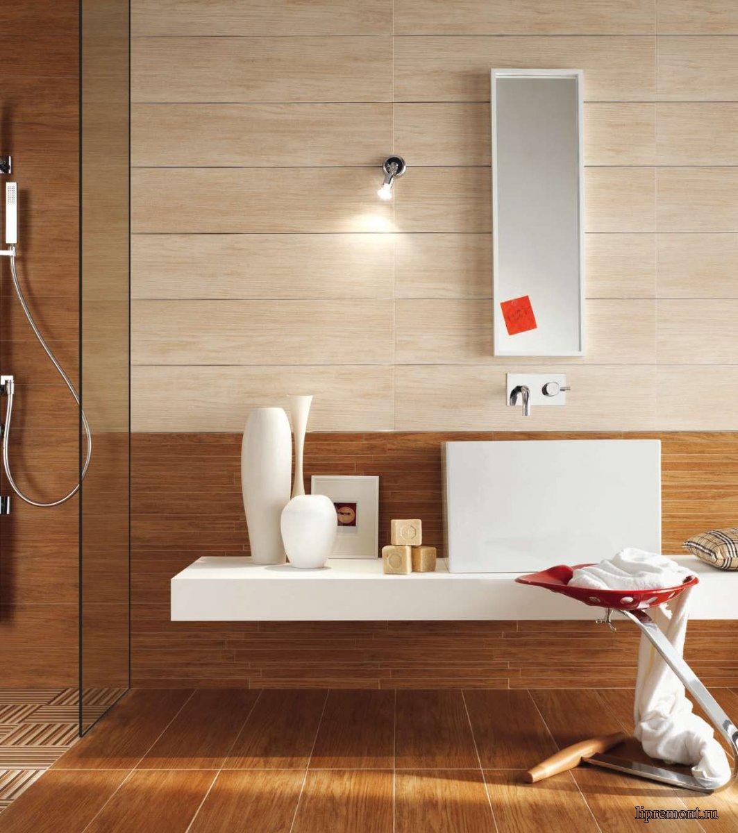 Плитка под дерево в ванной, особенности и преимущества