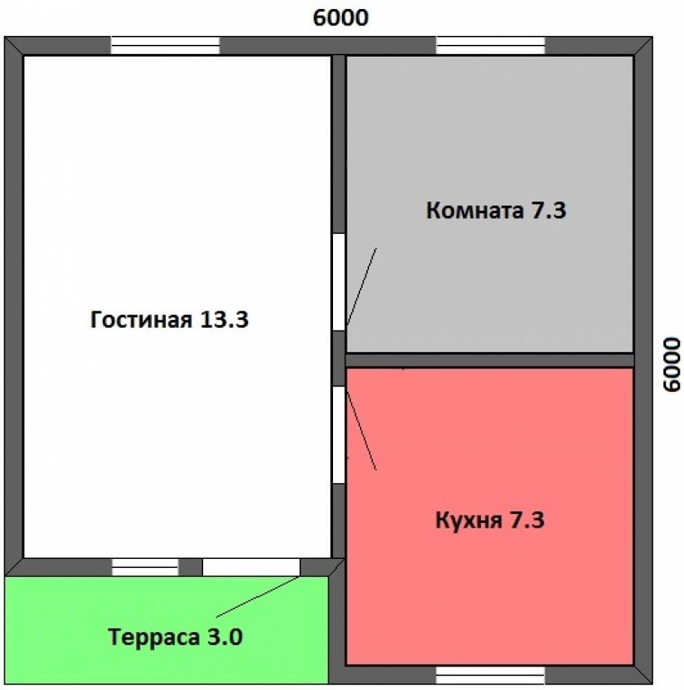 чертеж дома 36 кв.метров