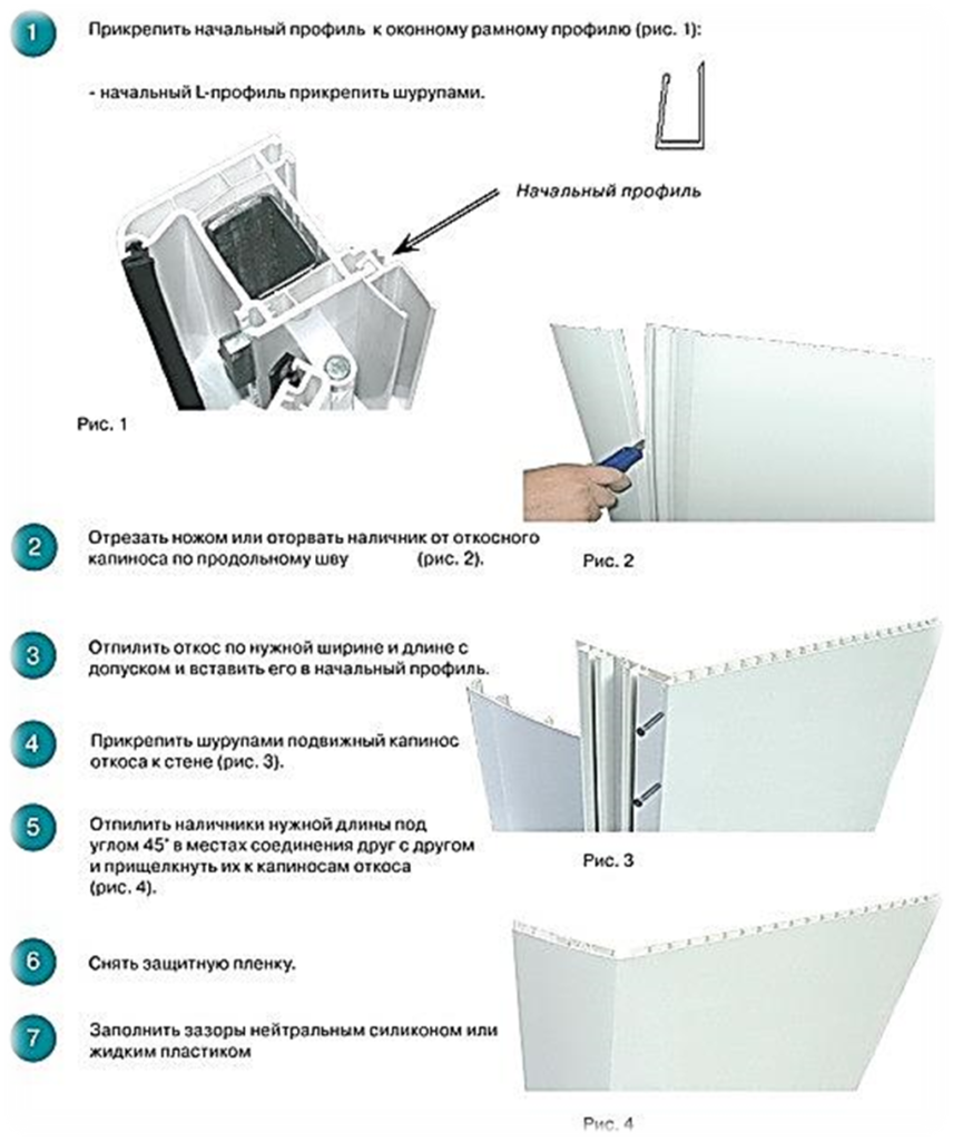 Схема монтажа откоса с наличником
