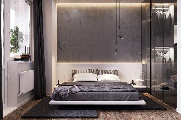 Спальня с обоями в стиле лофт