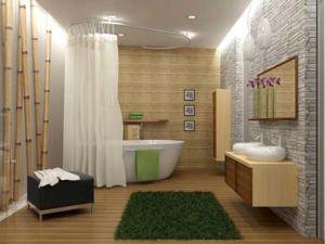 Для дизайна в стиле эко, комбинируйте дерево с камнем и бамбуком